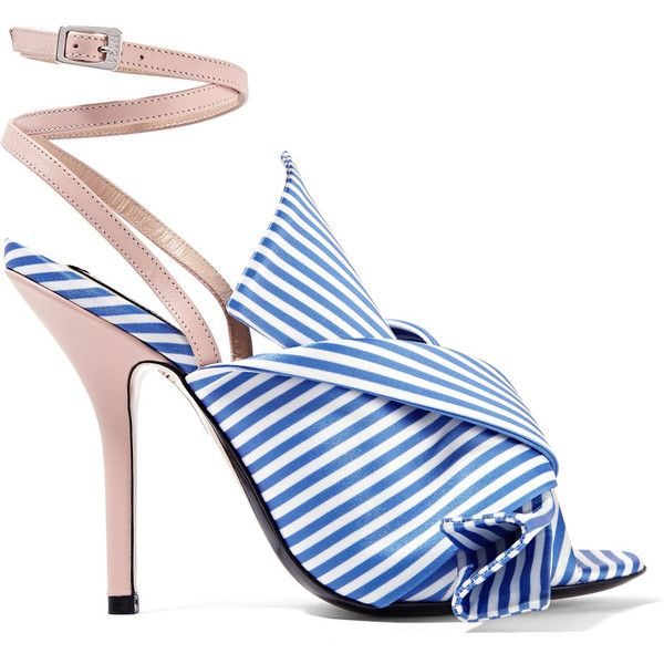 No. 21 No. 21 - Knotted Striped Satin And Leather Sandals - Blue (€525) ❤ liked on Polyvore featuring shoes, sandals, striped shoes, genuine leather shoes, blue satin shoes, knot shoes and stripe shoes