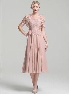 Vestidos princesa/ Formato A Decote quadrado Comprimento médio Tecido de seda Vestido para a mãe da noiva (008094034)