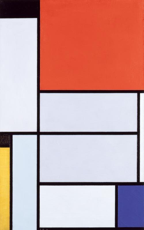piet mondrian tableau i mit schwarz rot gelb blau und hellblau 1921 l auf leinwand 96 5. Black Bedroom Furniture Sets. Home Design Ideas