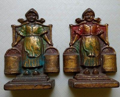 Bronze-Dutch-Girl-Bookends-Original-Paint-Vintage