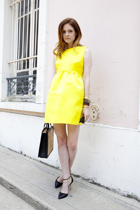 Stephanie LaCava: Streethair Parisfashionweek, Yellow Dresses, Mini Dresses, Style Inspiration, Fashion Week, Street Style, Stephanie Lacava, Couture Fashion
