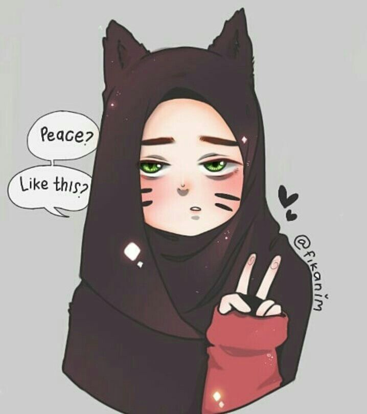Cat Kawaii Anime Hijab Girl Kartun Seni Islamis Animasi