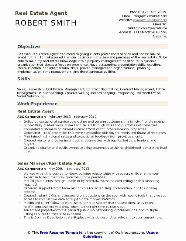 Real Estate Agent Resume No Experience Beautiful Real Estate Agent Resume Samples In 2020 Resume Examples Manager Resume Resume Objective