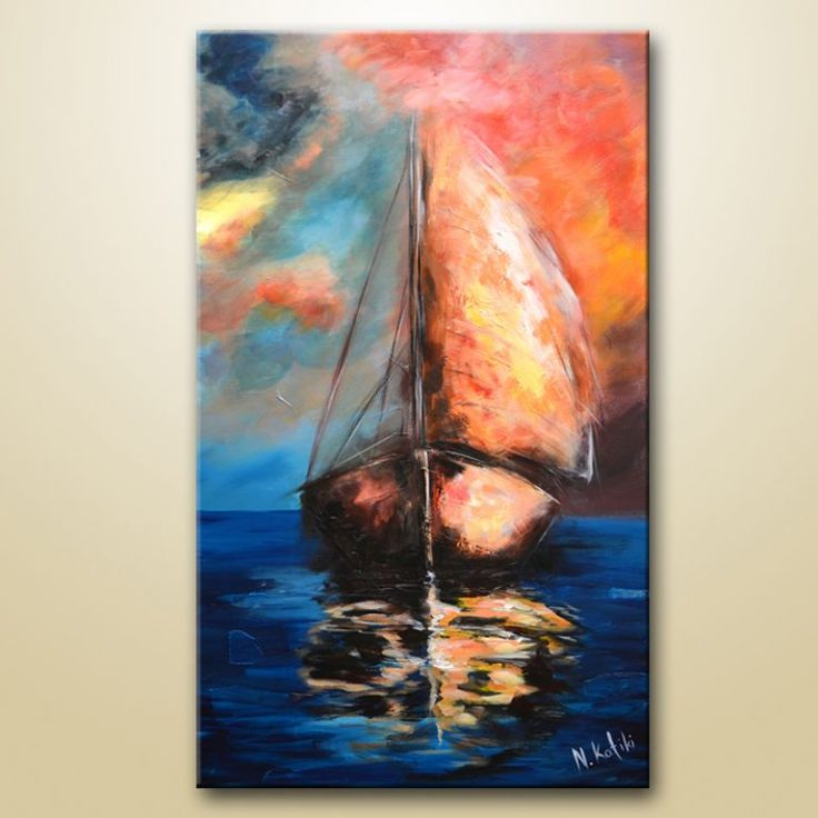 Sailboats / Soothing & Relaxing Demo / Abstract Painting / Acrylic / Daily Art