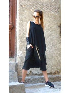 Loose Summer Black Tank Top A04465  #Aakasha #loose #black #sleeveless #casual #boho #extravagant