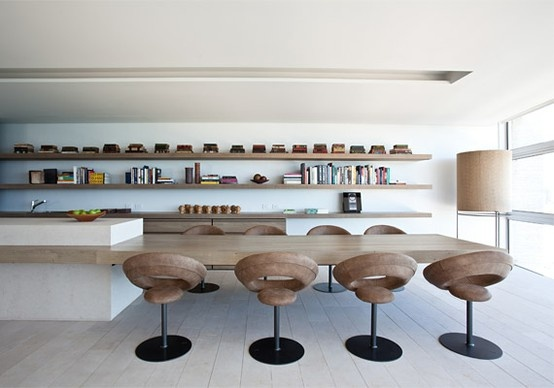 Love the extension of the island into a table for a long room