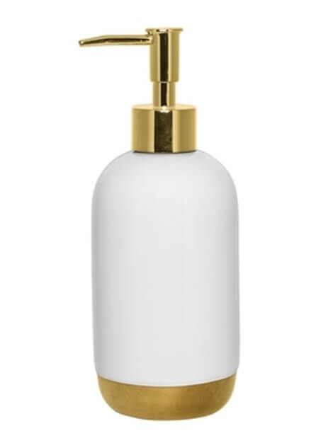 White & Gold Soap Dispenser: The White & Gold Soap Dispenser is a great addition to our bathroom accessories. Made from white ceramic with a brass bottom and dispenser. Perfect for adding a stylish touch to your bathroom.