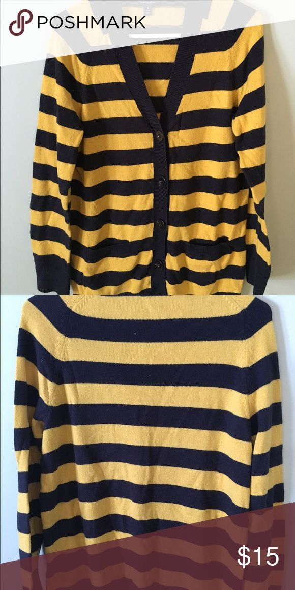 Lands End women's 10/12 navy and gold Cardigan Cute navy and gold cardigan by lands end size 10/12 Lands' End Sweaters Cardigans