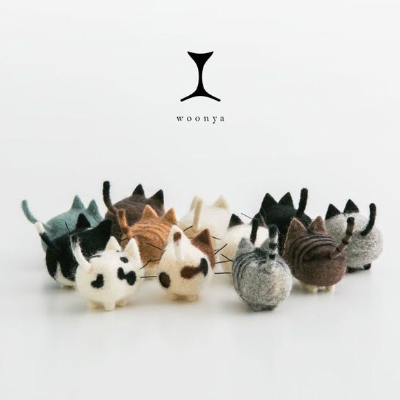 The logo here is so subtle and delightful / Woonya: Adorable Wool Felt Kitties