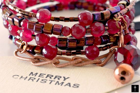 Holidays Gifts Bracelet  Cherry red nephrite jade by BYTWINS