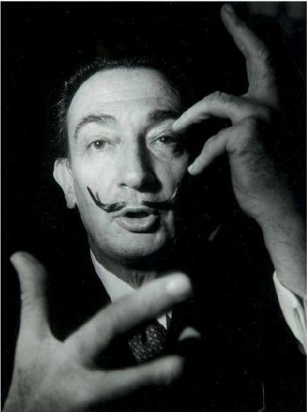 Photo by Michel Brodsky, ca 1970, Salvador Dali Portrait.