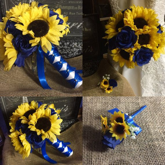 Sunflower Bouquet with Boutonniere, Sunflower Royal Blue Rose Wedding Bouquet…