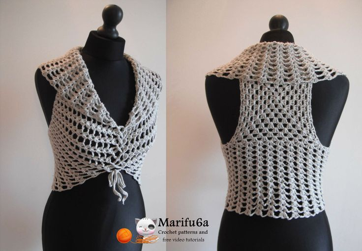 How to crochet easy vest bolero shrug for beginners free pattern tutoria...