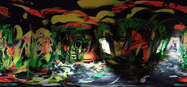 Impression noire sur bandes fluo (5 euros ht le mètres linéaire) + collage + travail à la peinture. Scratchpaper by Le 9ème Concept pour les bains douches.