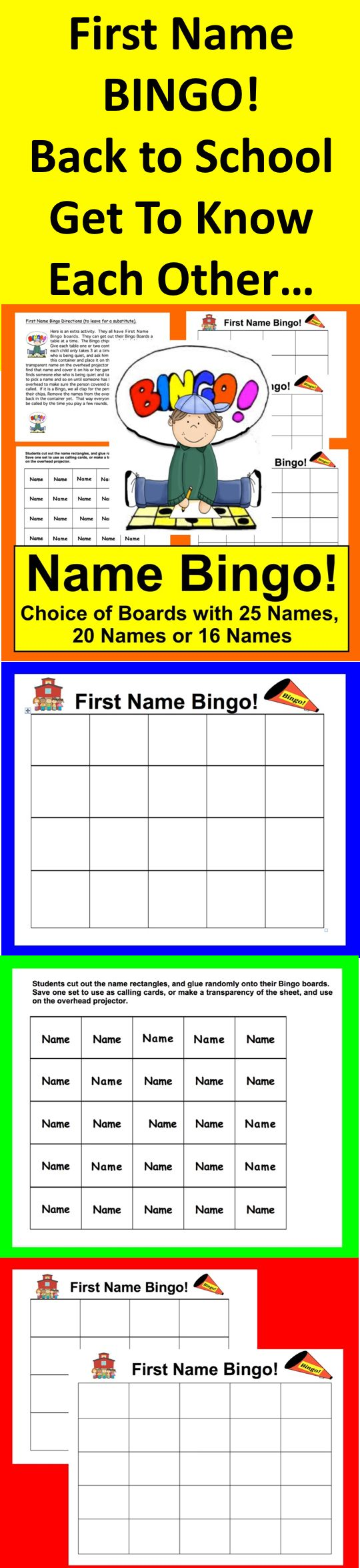 ... Bingo game boards for 25, 20 and 16 students ★ Calling card template
