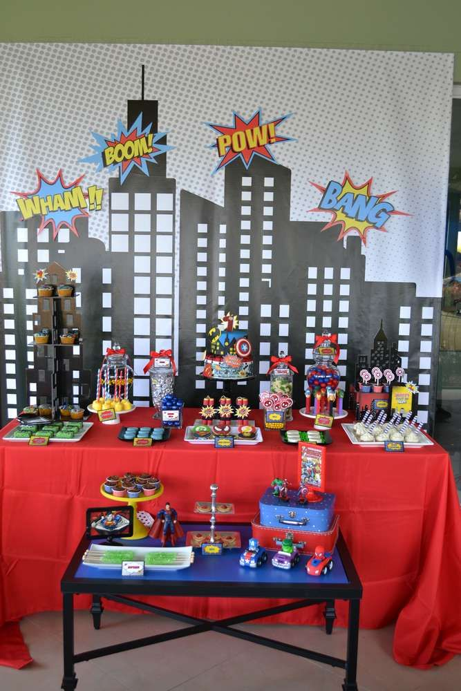 Dessert table at a superhero birthday party! See more party planning ideas at CatchMyParty.com!