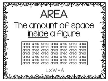 These posters are great printables to laminate and hang in the classroom for students to reference. The images show a visual of both area and perimeter for visual learners as well as formulas used to calculate. TEKS 3.6C, 3.6D, 3.6E, 3.7B