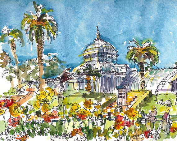 San Francisco Conservatory of Flowers, watercolor, pen and ink sketch