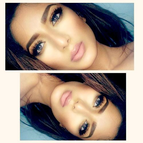 love her soft pinky nude lips, defined natural eyebrows, and long voluminous eyelashes