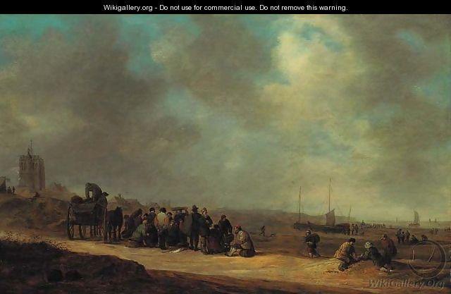 Jan van Goyen - Fisherfolk on the beach at Scheveningen - Jan van Goyen