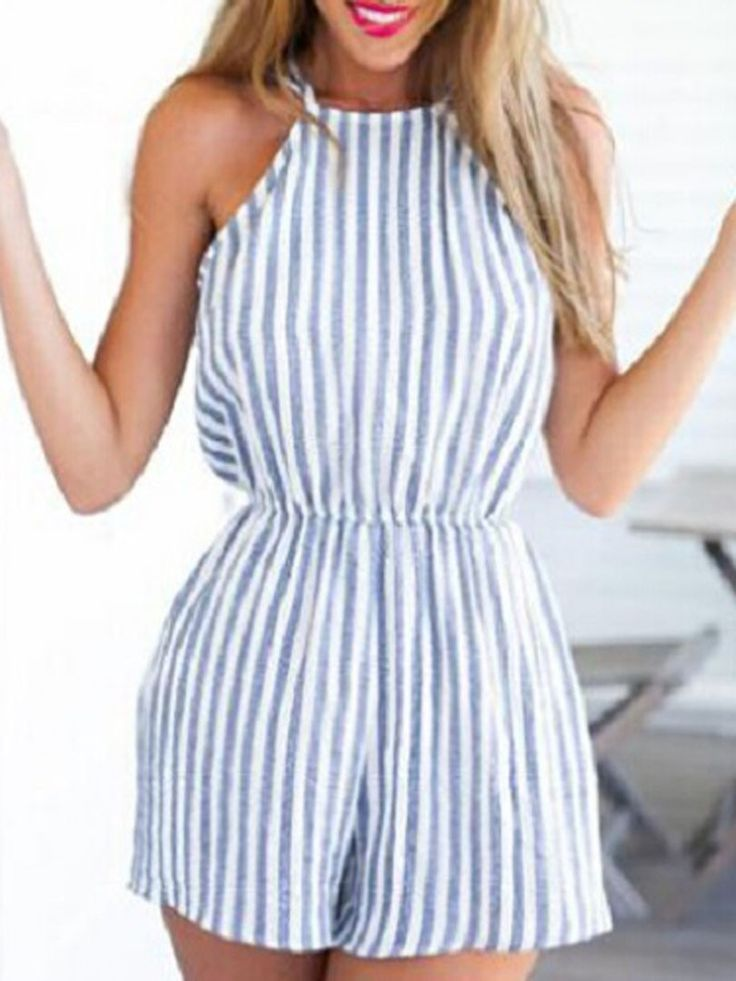 Blue And White,Stripe,Halter,Strappy,Open Back,Romper,Playsuit,Backless