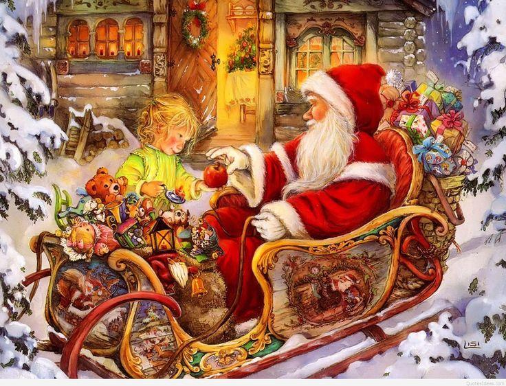 Holiday Christmas  Santa Toy Child Sleigh Wallpaper