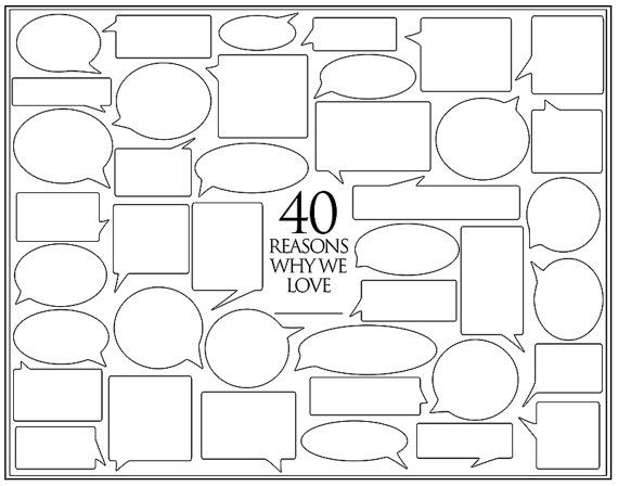 Personalized Birthday Present  40 Reasons We Love by Featherwurm