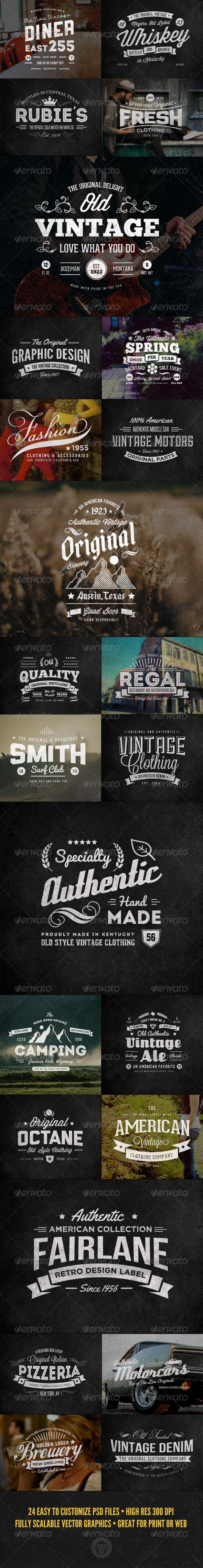 24 Vintage Labels and Logos Bundle Template | Buy and Download: http://graphicriver.net/item/24-vintage-labels-and-logos-bundle/7255445?WT.ac=category_thumb&WT.z_author=GraphicMonkee&ref=ksioks