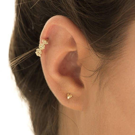 Flower Ear Piercing, Unique Piercing Jewelry, Nose Piercing, 925 Sterling Silver / 14K Yellow Gold / Rose Gold Bohemian Piercing, Indian Nose Ring, Fits Cartilage, Tragus, Helix, 16g-20g Unique feminine ear piercing for the stylish individual. Intended to highlight pretty features in your appearance or to add a cool edge to your style This earring is easy and comfortable to wear. Though beautiful, it adds a subtle twinkle of light to any simple everyday outfit. The fact that it is ...