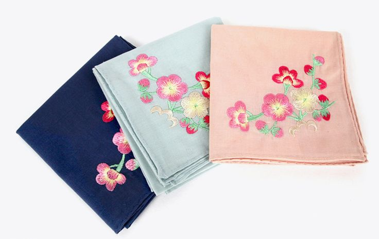 Womens Hankerchief Embroidered Hankie Asian Traditional Style Flower Patterns #AsianTraditionalStyle