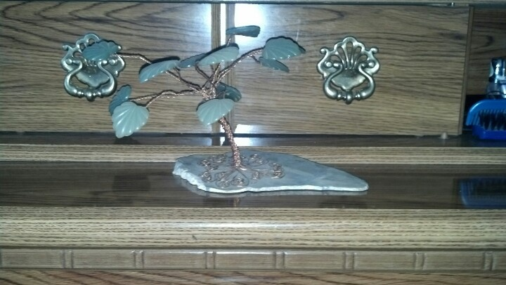 Copper tree with jade leaves