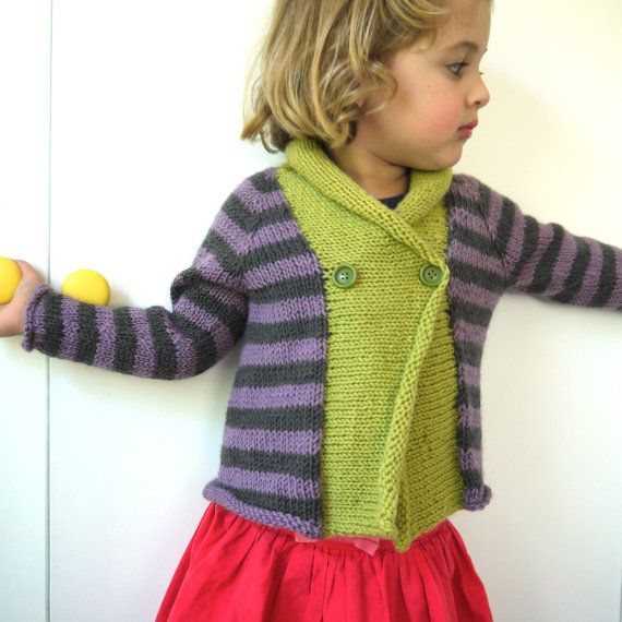 Girls Sweater - NEW - Size 3 - natural wool - seamless - lime, lavender and taupe by KUDUM