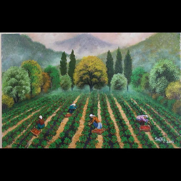 ✨YENİ ESER✨Çilek Bahçesi 35x50  2015 Tuval Üzeri Yağlı Boya.  #resim #tablo #sergi #resimsergisi #ressam #yağlıboya #oilpainting #sanat #ankara #izmir #istanbul #art #artwork #fineart #vscocam ✨Bu Esere Sahip Olmak İçin; Okan Sartaş 05074409494✨