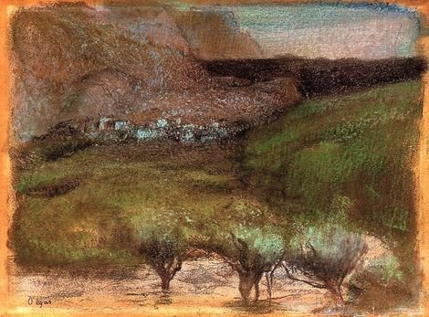 Edgar Degas, Olive Trees Againt a Mountainous Background 1890 - 1893 on ArtStack #edgar-degas #art