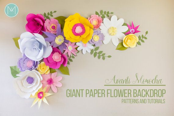 FULL Flores Gigantes de Papel Moldes y Video por AvantiMorochaDIYs