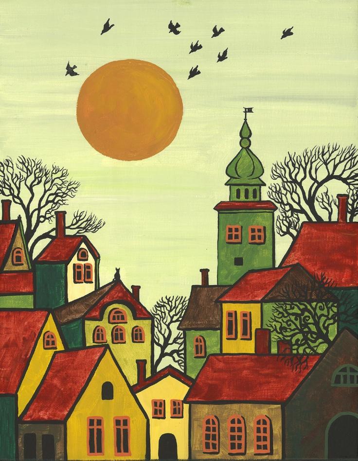Folk Art Paintings | PRINT OF ABSTRACT FOLK ART PAINTING RYTA TREES HOUSES CITYSCAPE BLACK ...
