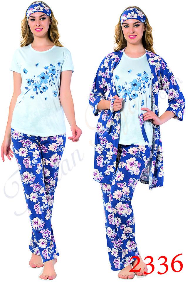 Toptan Bayan 4 Lu Sabahlikli Ve Uyku Gozluklu Pijama Takimi 2336 Pijama Giyim Gecelikler