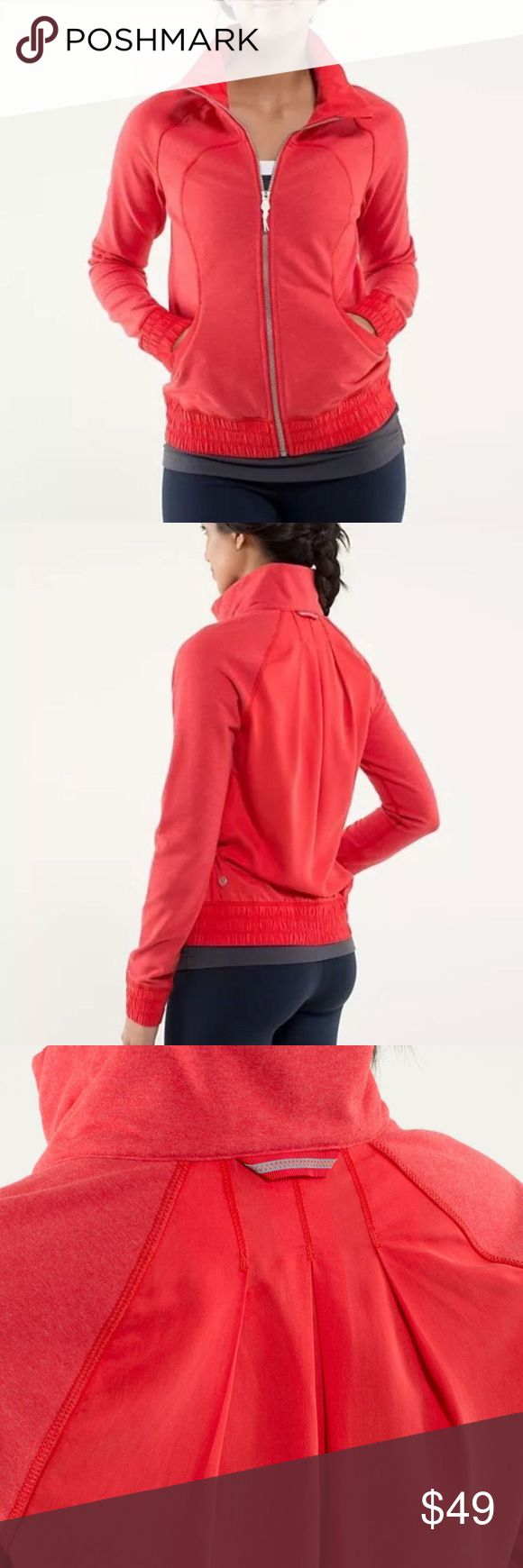 Lululemon Blissed out jacket 4 red coral define Size 4, pretty much perfect condition. I can't find any signs of wear to mention. Color is Love Red, but it is really two tones and to me seems more coral. lululemon athletica Jackets & Coats Utility Jackets