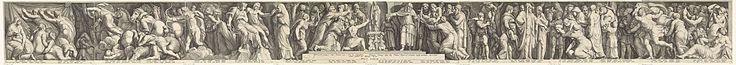 Jan Saenredam | Fries met de bestraffing van Niobe, Jan Saenredam, Claes Jansz. Visscher (II), Franco Estius, 1594 | Prent met een fries uit acht platen. De voorstelling van het fries bevat vier scènes die het verhaal van Niobe vertellen. Niobe was de dochter van Tanatalus. Tijdens de festiviteiten in Thebe ter ere van Latona, de moeder van Apollo en Diana, verwijt Niobe de Thebanen dat zij aan Latona offeren (midden en rechts). De godin Latona doet haar beklag bij haar twee kinderen, die…