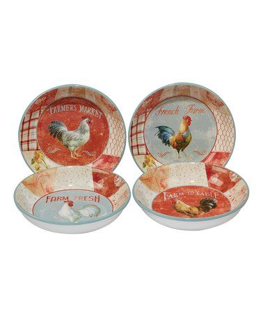 Farmhouse Rooster Soup & Pasta Bowl - Set of Four #zulily #zulilyfinds