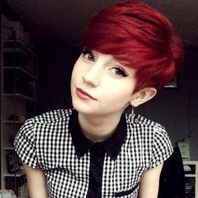 Red Pixie cut---I want this, I don't care what I have to do to get my hair this color!!!!