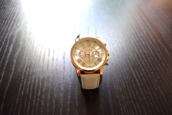 Cute Ladies Watches White & Beige Nice Watches by SassyandCool