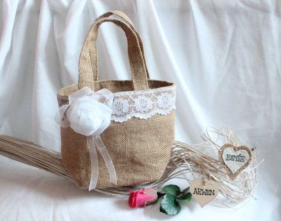 Flower girl / bridesmaid custom  bag or basket  hessian by SoLuvli