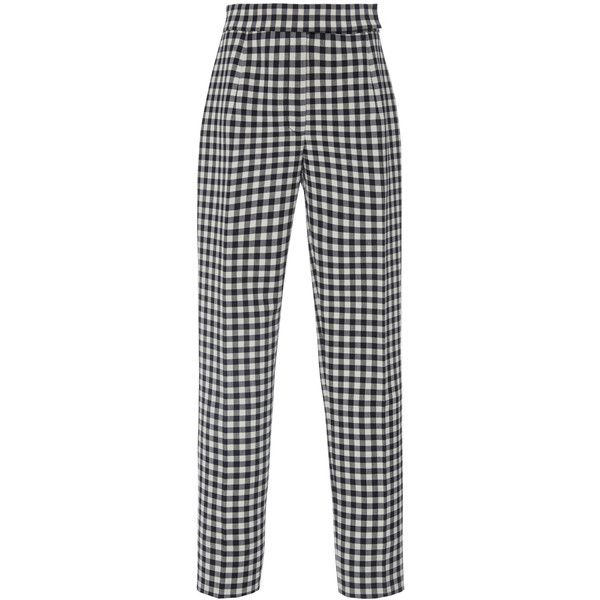 Protagonist Classic Cigarette Pant ($850) ❤ liked on Polyvore featuring pants, multi, high waisted pants, white pants, high-waisted pants, cigarette pants and wool pants