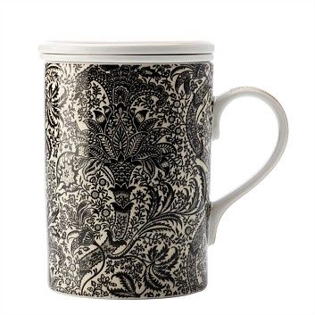 Briscoes - Maxwell & Williams W Morris Black Seaweed Infuser Mug 350ML
