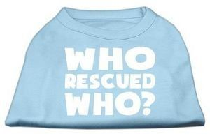 Mirage Pet Products Who Rescued Who Screen Print Shirt, X-Small, Baby Blue * Check out the image by visiting the link. #CatApparel