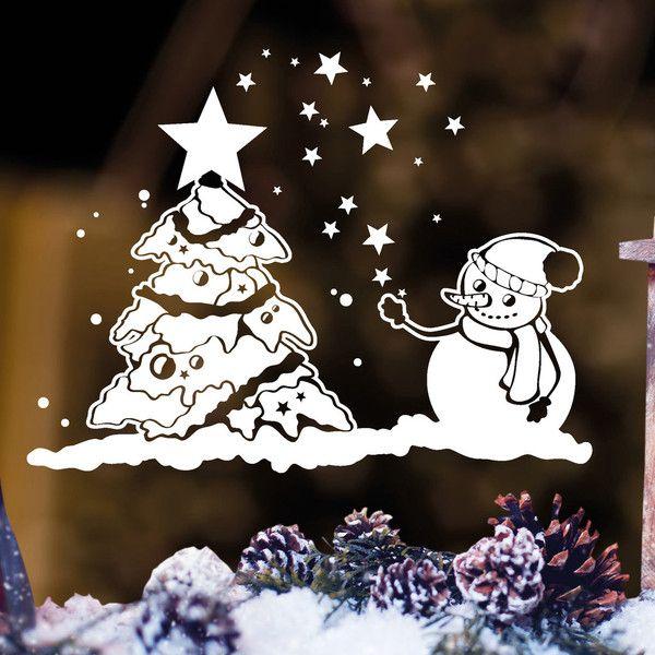 Kinderzimmerdekoration - Wandtattoo Fensterbild Schneemann Weihnachtsbaum - ein Designerstück von wandtattoo-loft bei DaWanda