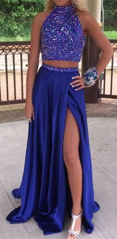 Royal Blue Two Pieces Beading Prom Dresses With High Slit Skirt Prom Dress pst1357