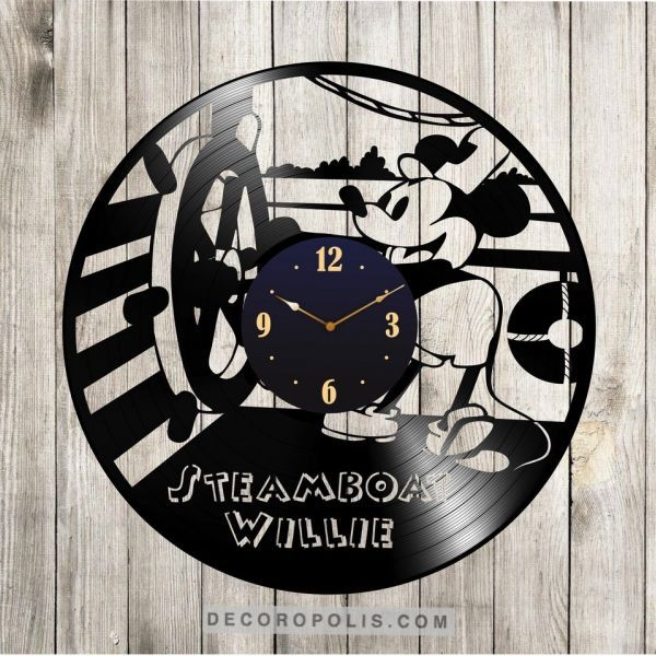 Mickey Mouse clock decor wall Steamboat Willie cartoon