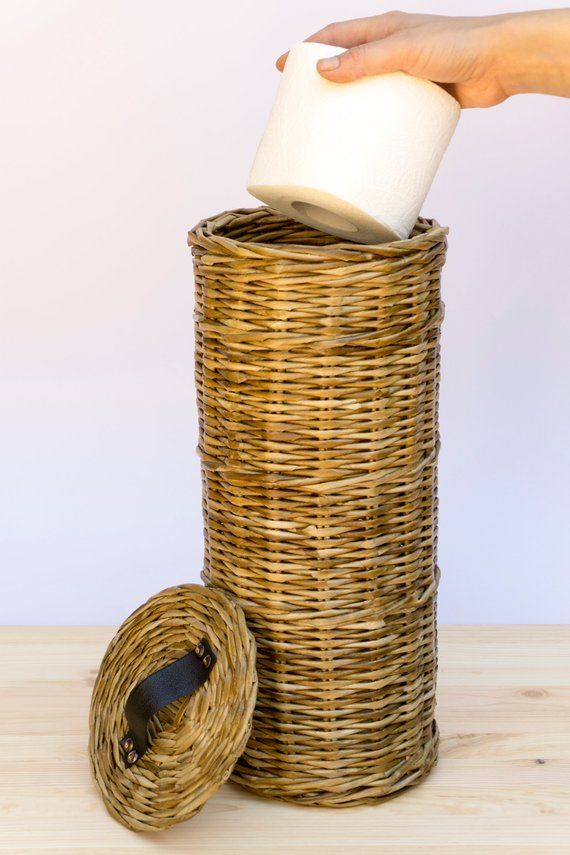 Toilet Paper Storage Basket Lidded Toilet Roll Holder Wicker Etsy In 2020 Storage Baskets Toilet Paper Storage Toilet Roll Holder